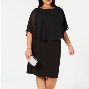 Connected Apparel Chiffon Cape Cocktail Dress